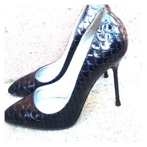 Sergio Rossi Snake Skin Stiletto Heels
